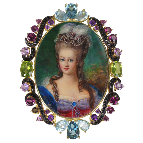 Marie Antoinette Russian Hand Painted FEDOSKINO MOP Brooch or Pendant - DIDAJ