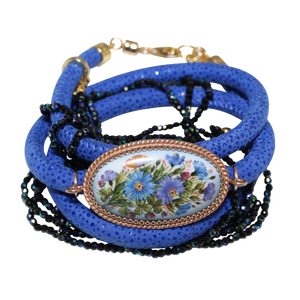 Italian Wrap Leather Bracelet With Russian Finift & Mystic Blue Spinel