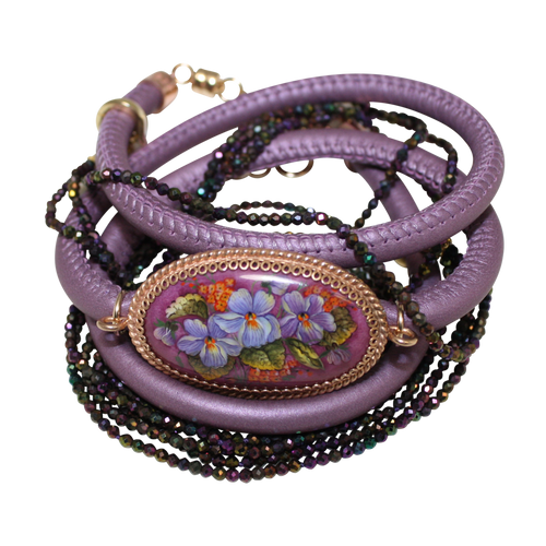 Italian Wrap Leather Bracelet With Russian Finift & Mystic Lavender Spinel