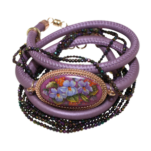 Italian Wrap Leather Bracelet With Russian Finift & Mystic Lavender Spinel - DIDAJ