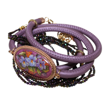 Load image into Gallery viewer, Italian Wrap Leather Bracelet With Russian Finift & Mystic Lavender Spinel - DIDAJ