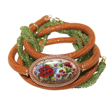 Load image into Gallery viewer, Italian Wrap Leather Bracelet With Russian Finift & Peridot - DIDAJ