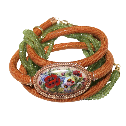 Italian Wrap Leather Bracelet With Russian Finift & Peridot