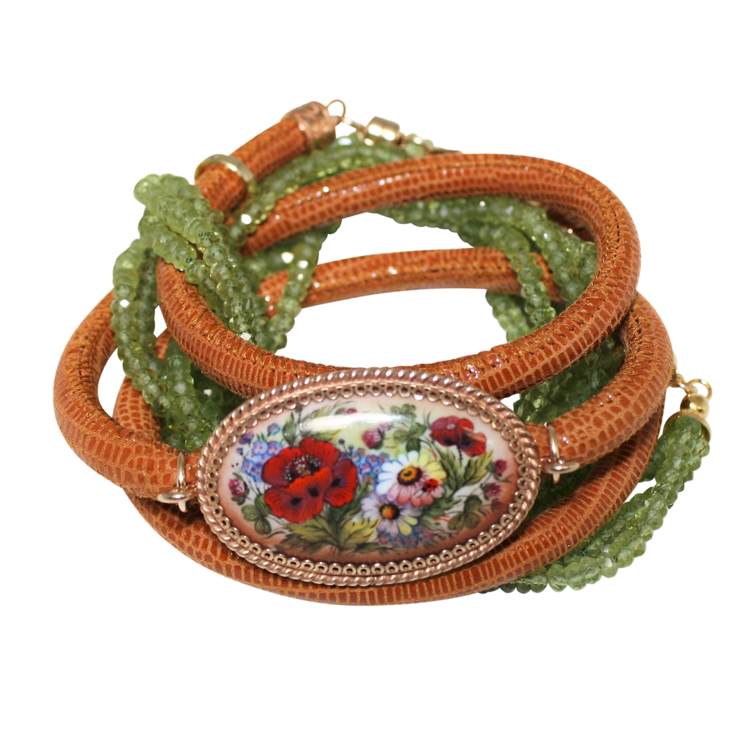 Italian Wrap Leather Bracelet With Russian Finift & Peridot - DIDAJ