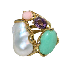 Load image into Gallery viewer, Italian Coral, Amethyst, Chrysoprase & Baroque Pearl Statment Ring - DIDAJ
