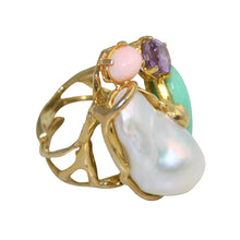 Load image into Gallery viewer, Italian Coral, Amethyst, Chrysoprase & Baroque Pearl Statment Ring