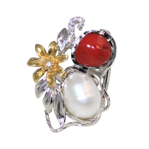Italian Coral & Baroque Pearl Statement Ring - DIDAJ