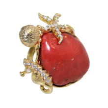 Load image into Gallery viewer, Italian Coral & CZ Cocktail Ring - DIDAJ