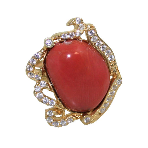 Italian Coral & CZ Cocktail Ring - DIDAJ