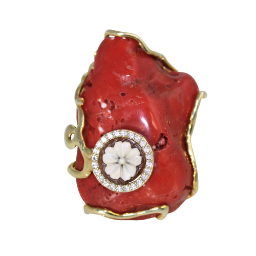 Italian Coral & Cameo Statement Ring - DIDAJ