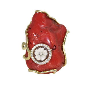 Italian Coral & Cameo Statement Ring