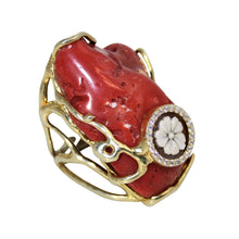 Load image into Gallery viewer, Italian Coral & Cameo Statement Ring