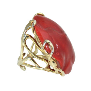 Italian Coral Cocktail Ring - DIDAJ