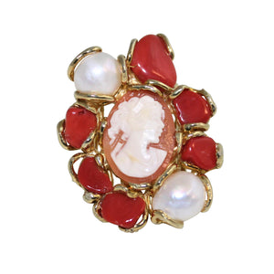 Italian Coral, Pearl & Cameo Statement Ring