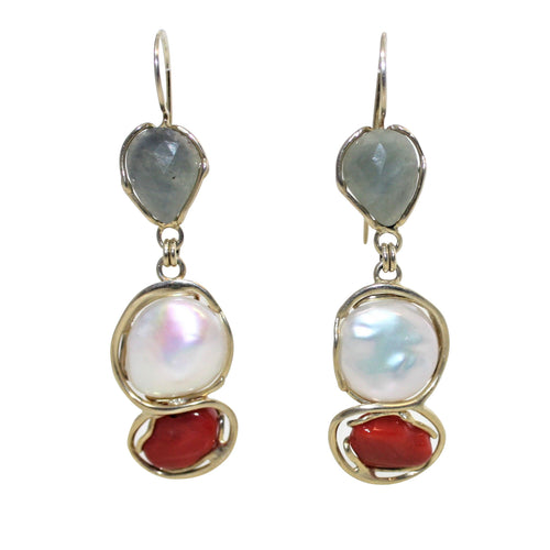 Italian Coral, Sapphire & Baroque Pearl Earrings