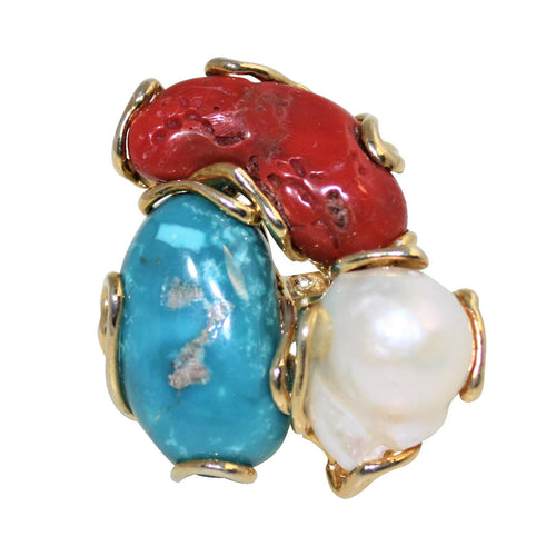 Italian Coral, Turquoise & Baroque Pearl Statement Ring - DIDAJ