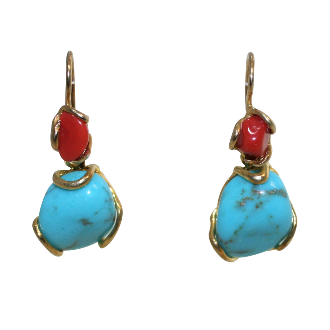 Italian Coral & Turquoise Earrings