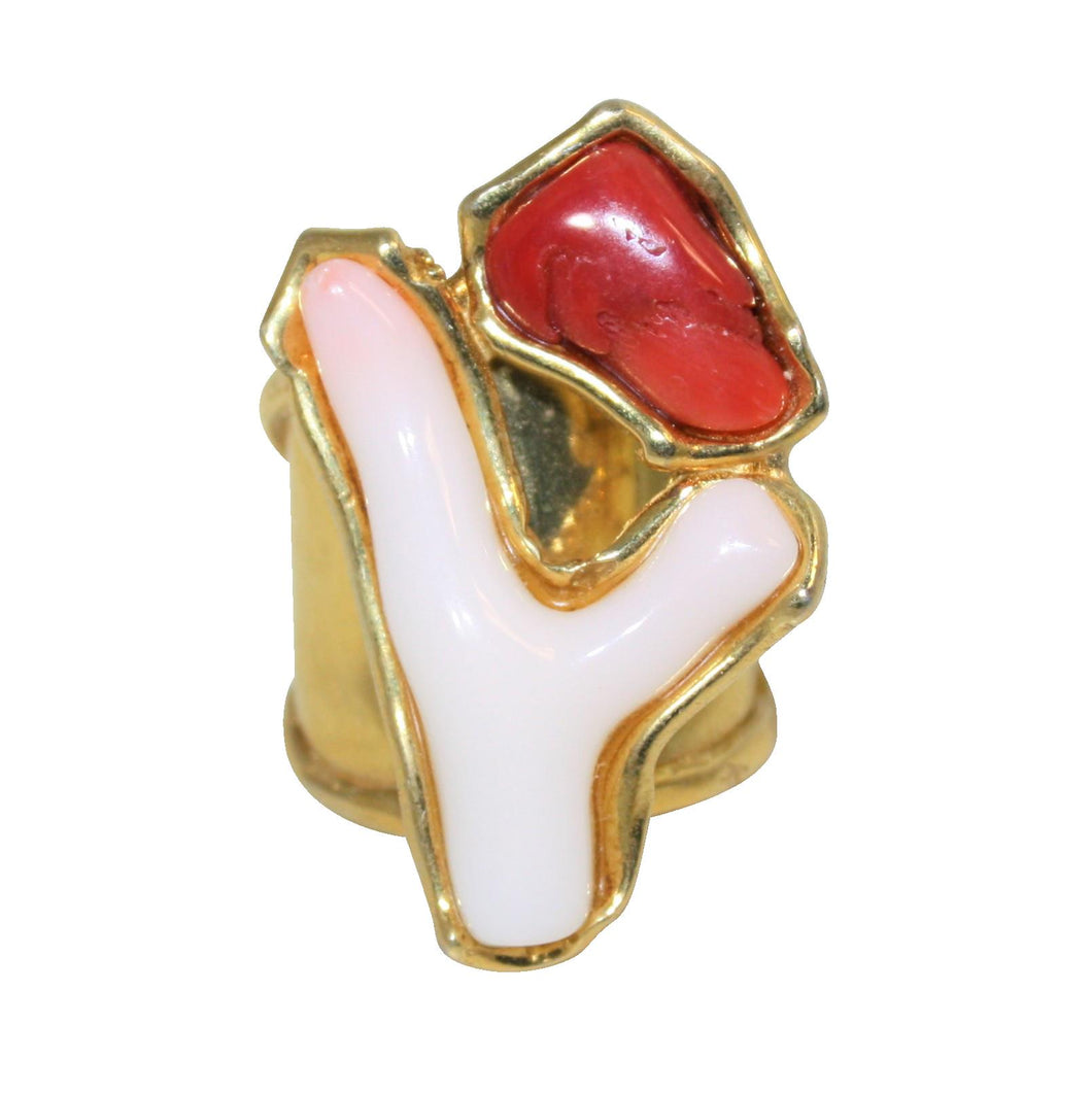 Italian Red & Pink Branch Coral Statement Ring - DIDAJ