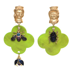 Buffalo Horn Flower Style Lacquered Earrings - DIDAJ