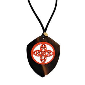 Bicolor Pendant in Lacquered Buffalo Horn With Waxed Cotton Cord - DIDAJ