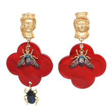 Load image into Gallery viewer, Buffalo Horn Flower Style Lacquered Earrings - DIDAJ