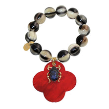 Load image into Gallery viewer, Buffalo Horn Bracelet With Lacquer Buffalo Horn Flower Charms - DIDAJ