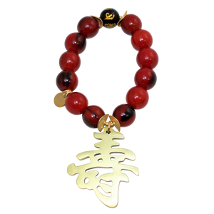 Buffalo Horn Bracelet With Lacquered Kanji 寿 LONGEVITY Character Charm and Lucky Obsidian Bead - DIDAJ
