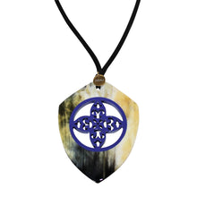 Load image into Gallery viewer, Bicolor Pendant in Lacquered Buffalo Horn With Waxed Cotton Cord - DIDAJ