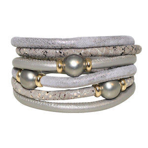 Italian Wrap Leather Bracelet With Mother of Pearl