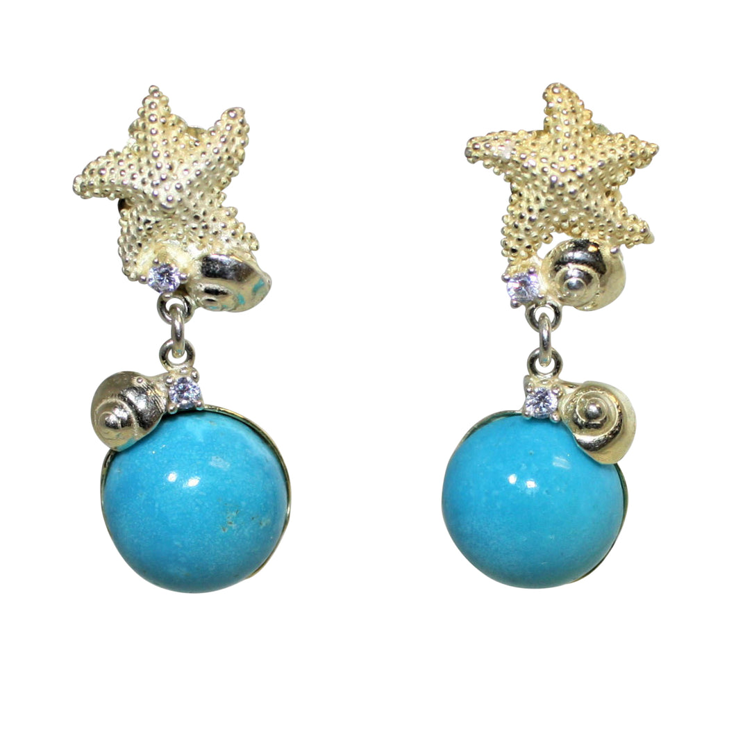 Italian Turquoise & Sea Star Earrings - DIDAJ