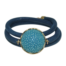 Load image into Gallery viewer, Aqua Navy Italian Wrap Leather Bracelet With Aqua Stingray Connector