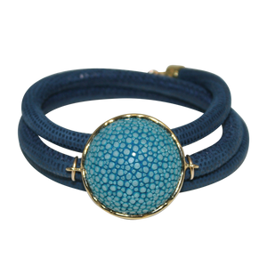 Aqua Navy Italian Wrap Leather Bracelet With Aqua Stingray Connector