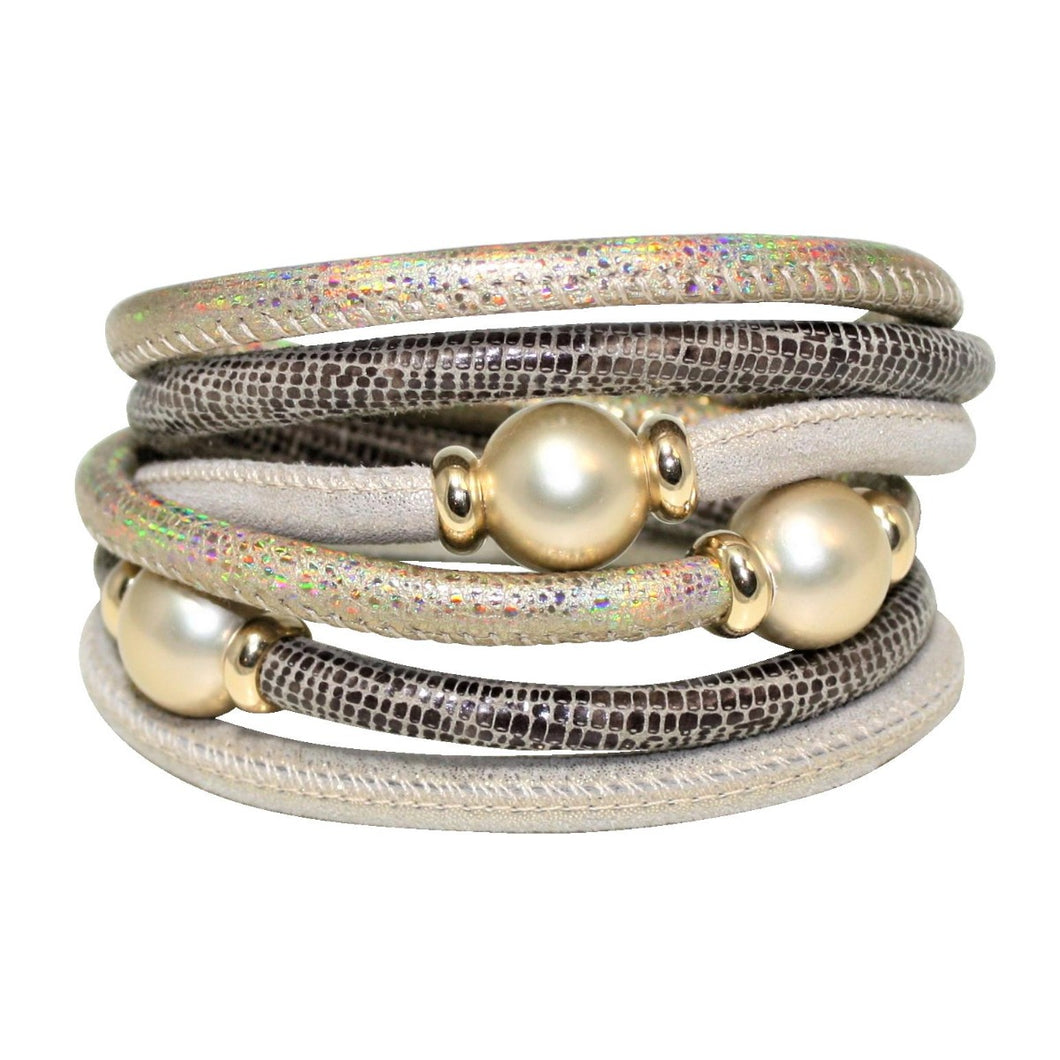 Beige & Gold Texture Italian Wrap Leather Bracelet With Mother of Pearls