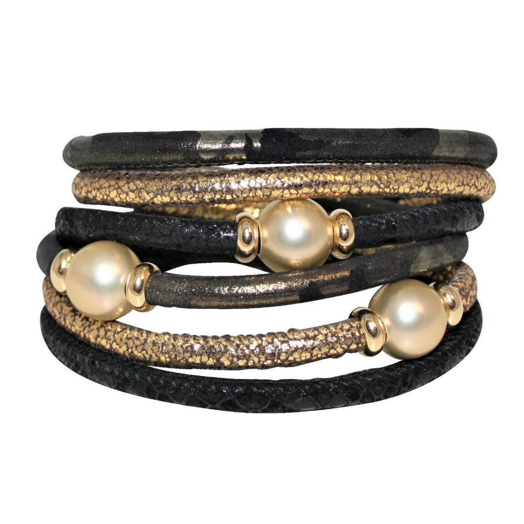 Black & Gold Snake Texture Italian Wrap Leather Bracelet With Mother of Pearls