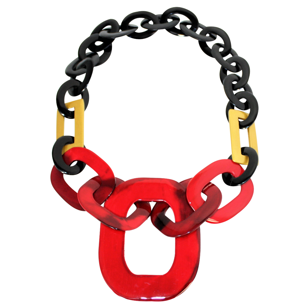 Buffalo Horn with Lacquer Necklace-Black Horn with Red and Gold Lacquer