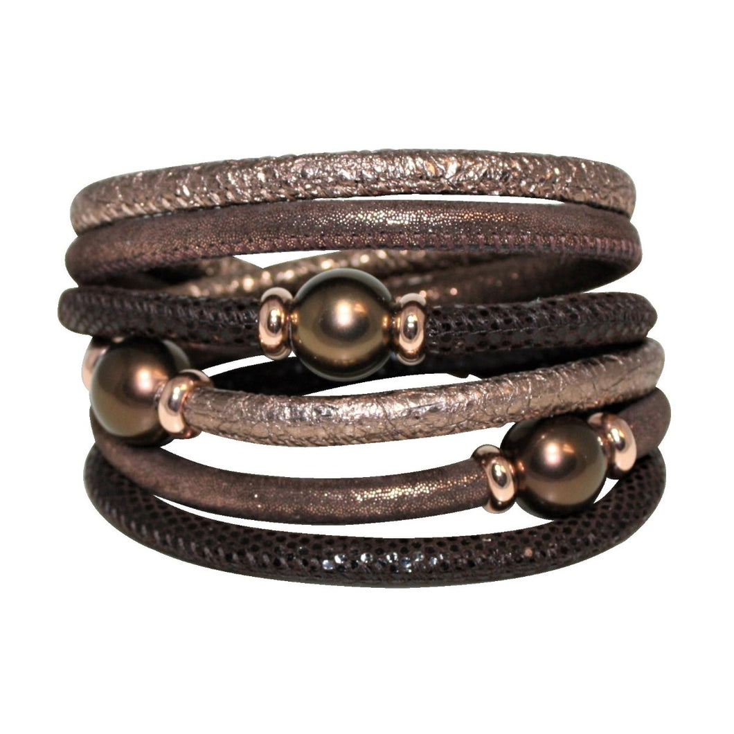 Brown, Bronze & Copper Snake Texture Italian Wrap Leather Bracelet With Mother of Pearls