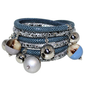 Denim Blue & Silver Snake Italian Wrap Leather Bracelet With Lacquer Buffalo Horn Charms - DIDAJ