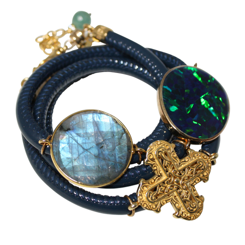 Aqua Navy Patent Italian Wrap Leather Bracelet With Faceted Labradorite, Opal, and Cross