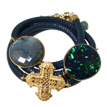 Load image into Gallery viewer, Aqua Navy Patent Italian Wrap Leather Bracelet With Faceted Labradorite, Opal, and Cross
