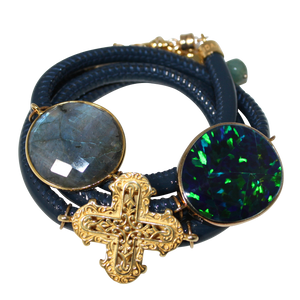 Aqua Navy Patent Italian Wrap Leather Bracelet With Faceted Labradorite, Opal, and Cross - DIDAJ