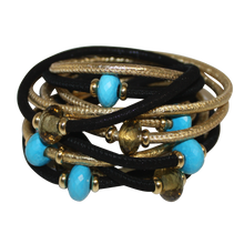 Load image into Gallery viewer, Italian Wrap Leather Bracelet With Gemstones & Mother of Pearl - DIDAJ