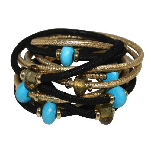 Italian Wrap Leather Bracelet With Gemstones & Mother of Pearl - DIDAJ