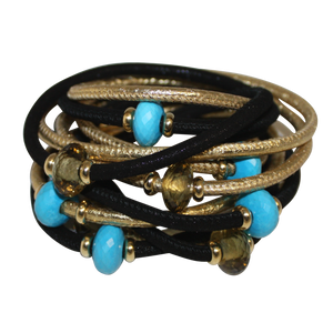 Black & Gold Italian Wrap Leather Bracelet With Faceted Turquoise & Citrine