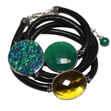 Load image into Gallery viewer, Black Italian Wrap Leather Bracelet With Opal, Faceted Green Onyx & Citrine Quartz - DIDAJ