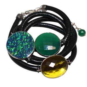 Black Italian Wrap Leather Bracelet With Opal, Faceted Green Onyx & Citrine Quartz