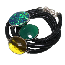 Load image into Gallery viewer, Black Italian Wrap Leather Bracelet With Opal, Faceted Green Onyx & Citrine Quartz