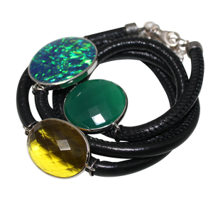 Black Italian Wrap Leather Bracelet With Opal, Faceted Green Onyx & Citrine Quartz - DIDAJ