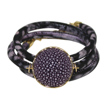 Load image into Gallery viewer, Black & Lavender Mauve Snake Italian Wrap Leather Bracelet With Plum Stingray Connector
