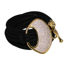 Load image into Gallery viewer, Black Suede Italian Wrap Leather Bracelet With CZ Buckle