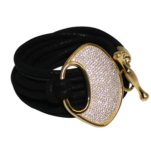 Black Suede Italian Wrap Leather Bracelet With CZ Buckle